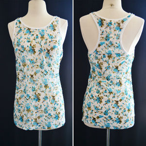 Tops - Blue and White Rose Floral Lace Layering Tank Top